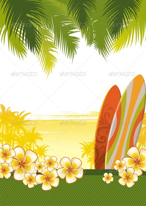 GraphicRiver Surfboards & Frangipani Flowers 4939129