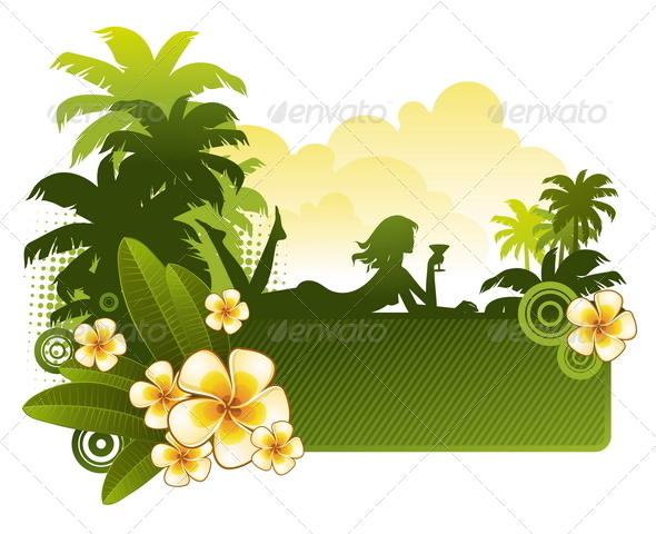GraphicRiver Girl with Cocktail on a Tropical Landscape 4939204