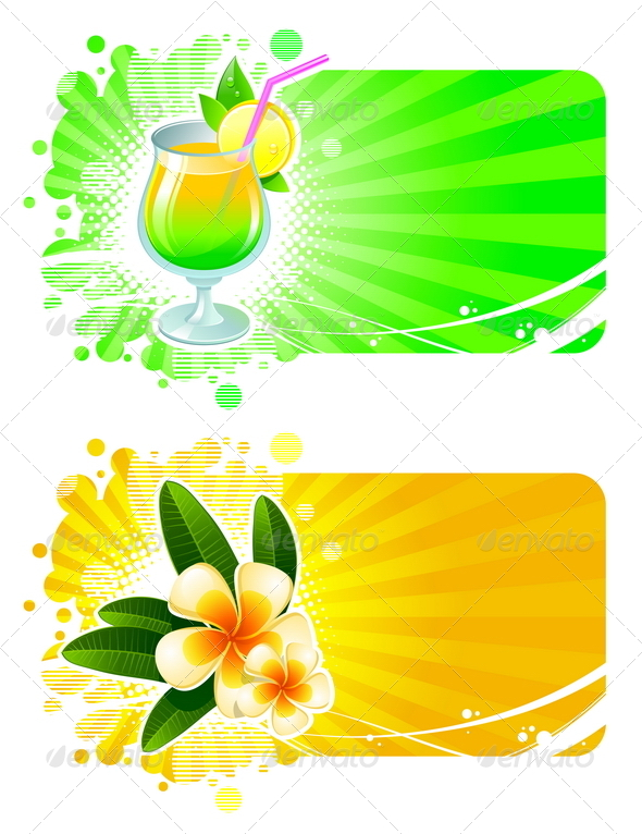 GraphicRiver Vector Frames with Cocktail and Tropical Flowers 4939215