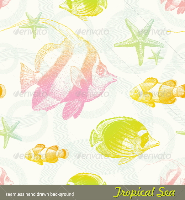 GraphicRiver Seamless Pattern with Tropical Fishes 4939766