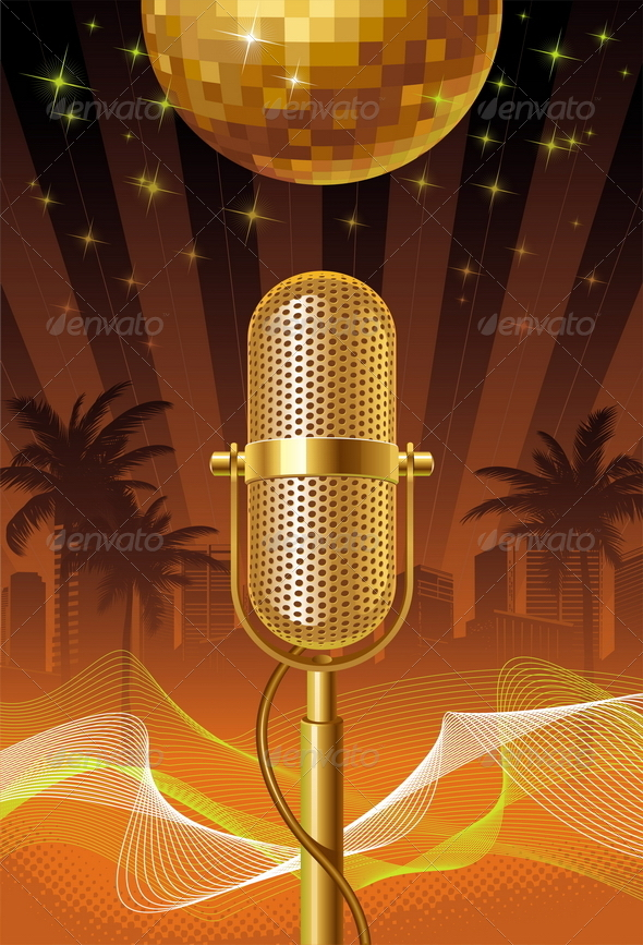 Retro Microphone & Disco Ball
