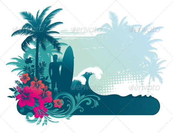 GraphicRiver Surfer Silhouette on a Tropical Landscape 4939998