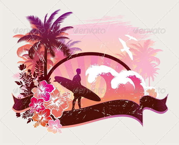 GraphicRiver Surfer on a Tropical Beach 4940024