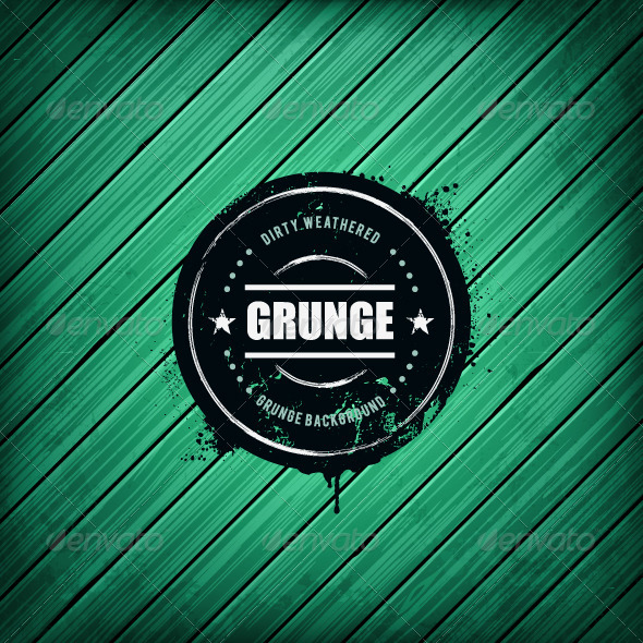 Grunge Banner on Wooden Background - Vectors