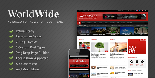 ThemeForest World Wide Responsive Magazine WP Theme 4940421