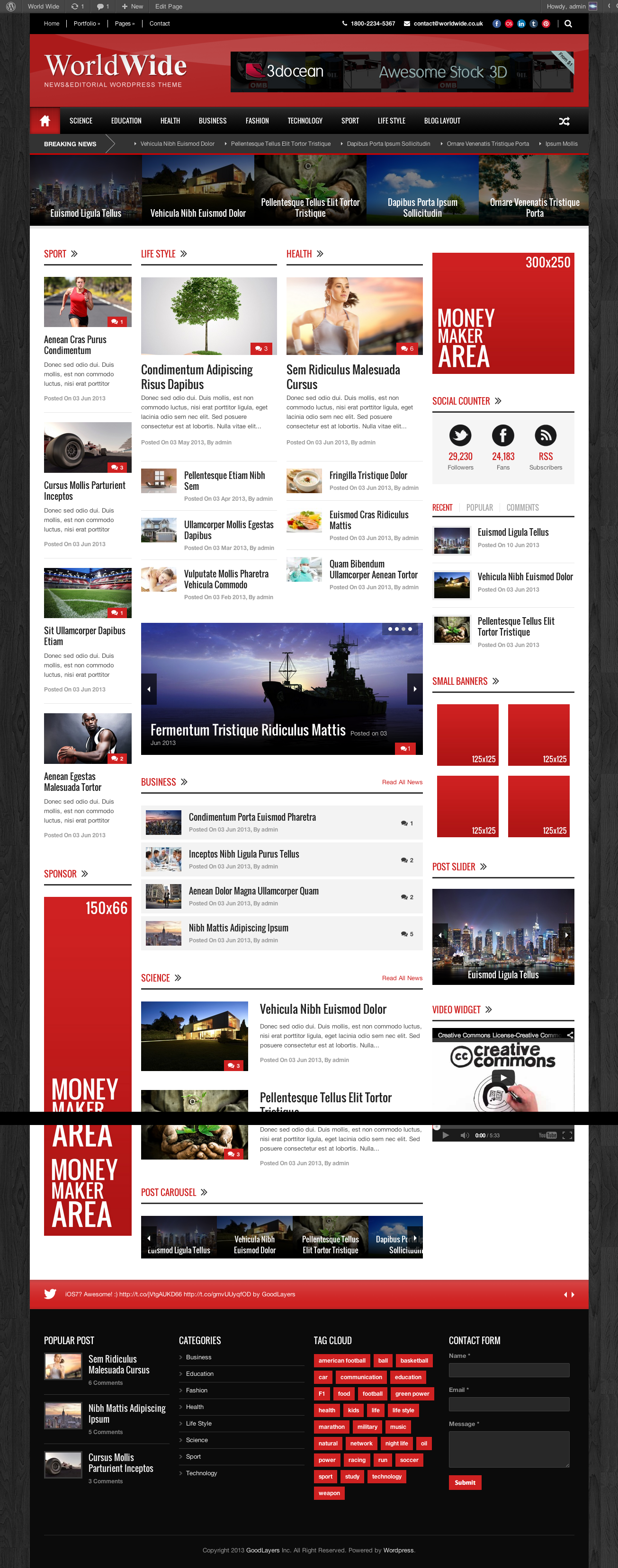 World Wide - Responsive Magazine WP Theme - index page with color changed