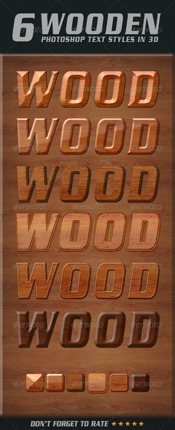 GraphicRiver Photoshop Text Styles Wooden 4940499
