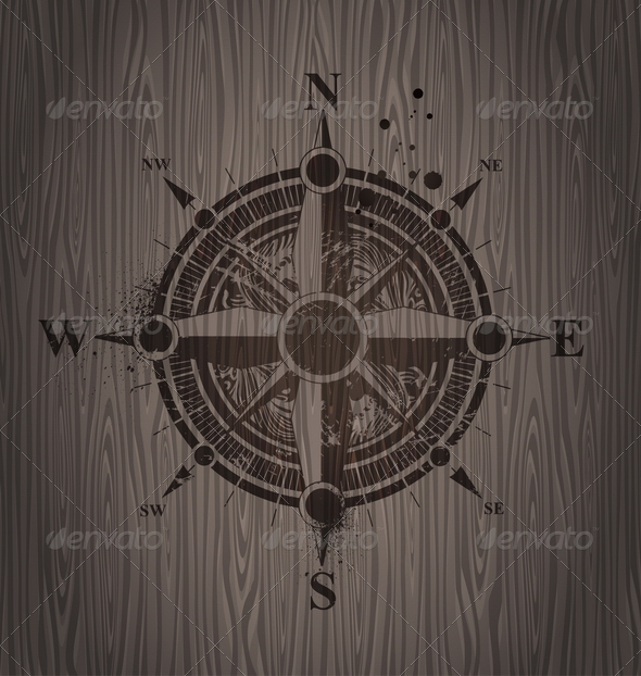 GraphicRiver Vector Compass Rose Painting on a Wooden Wall 4940617
