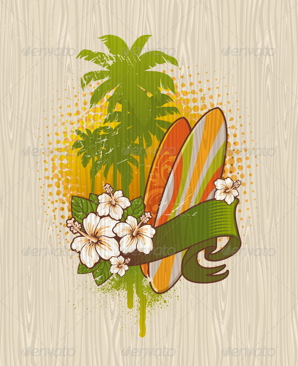 GraphicRiver Tropical Surf Emblem Painting on a Wood Board 4940811