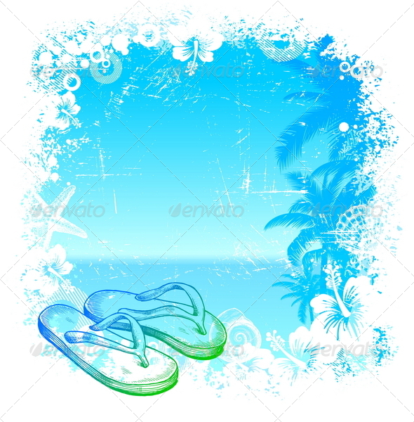 GraphicRiver Tropical Background with Hand Drawn Flip-Flop 4941073
