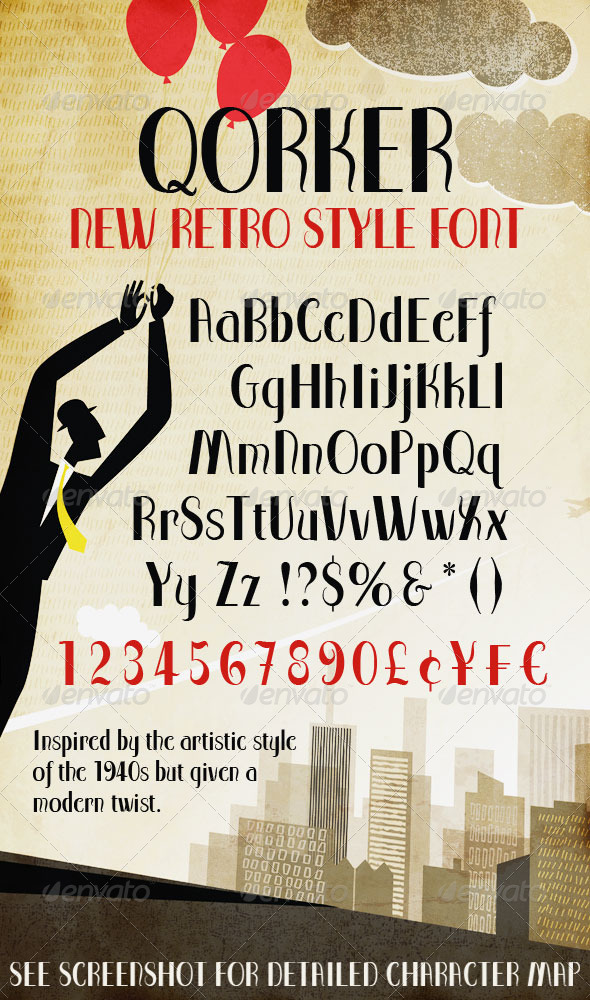 GraphicRiver Qorker; Modern Retro Inspired Typeface 4941219
