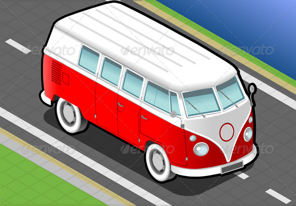 GraphicRiver Isometric Bicolor Van in Front View 4941292