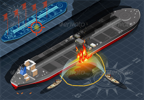 Isometric Oil Tanker Fire Disaster in Rear View