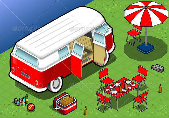 GraphicRiver Isometric Bicolor Van in Camping in Rear View 4941521