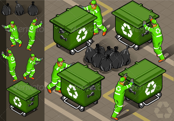 GraphicRiver Isometric Set of Garbage Men in Four Positions 4941536