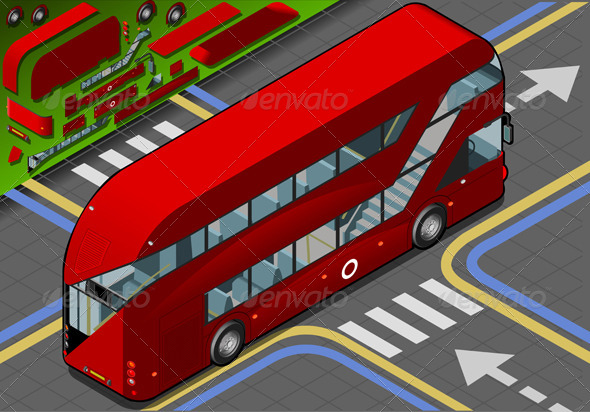 GraphicRiver Isometric Double Decker Bus in Rear View 4941539