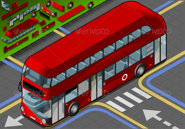 Isometric Double Decker Bus in Front View