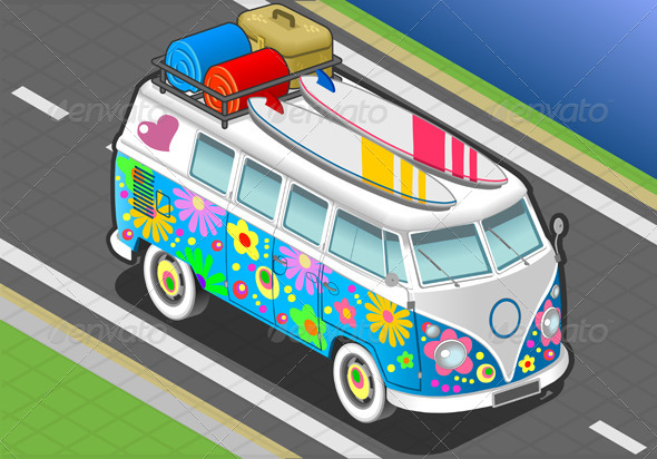 Isometric Flower Van in Front View