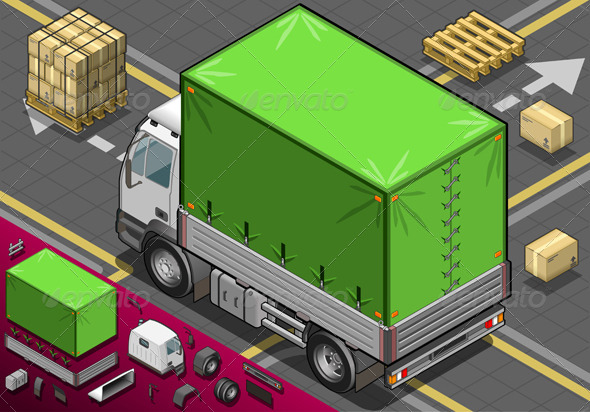 GraphicRiver Isometric Pick Up Truck with Tarpaulin 4941779