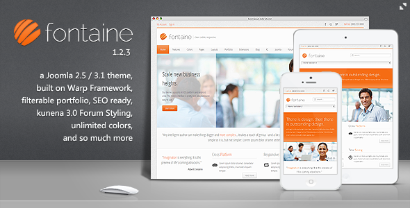 10 joomla theme bestsellers on themeforest fontaine is a professional and business joomla 2531 template with a clean layout and elegant look its subtle touch makes it best suited for a corporate flashek Images