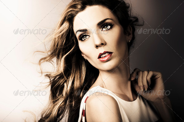 Amazing Brunette Woman. Beautiful Long Wavy Hair - Stock Photo - Images
