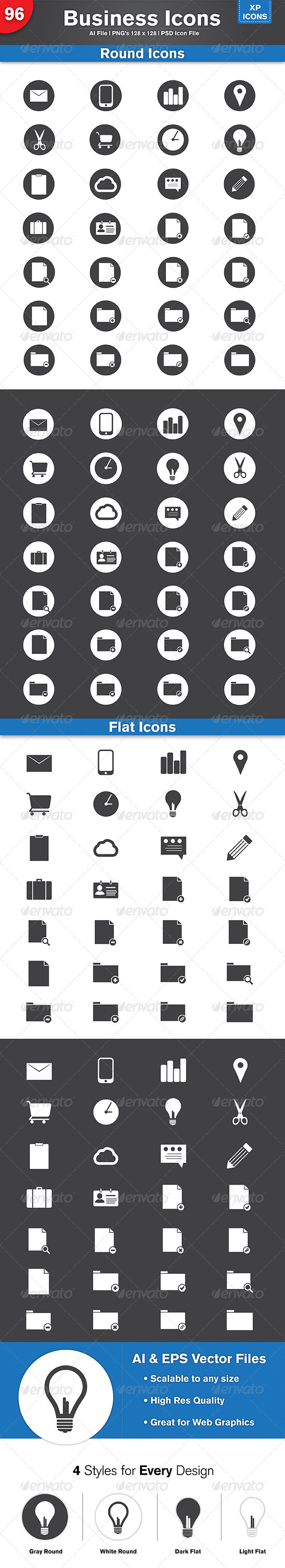 GraphicRiver 96 Flat & Round Business Icons 4894743