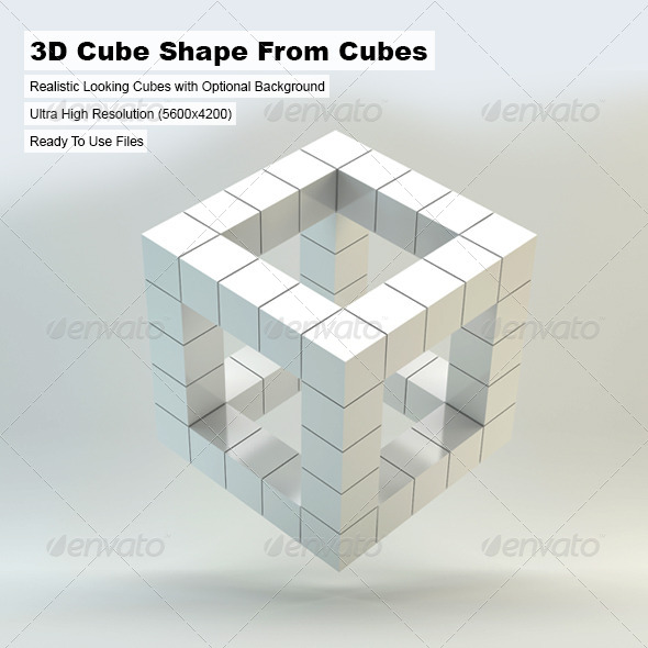 GraphicRiver 3D Cube Shape From Cubes 4928971