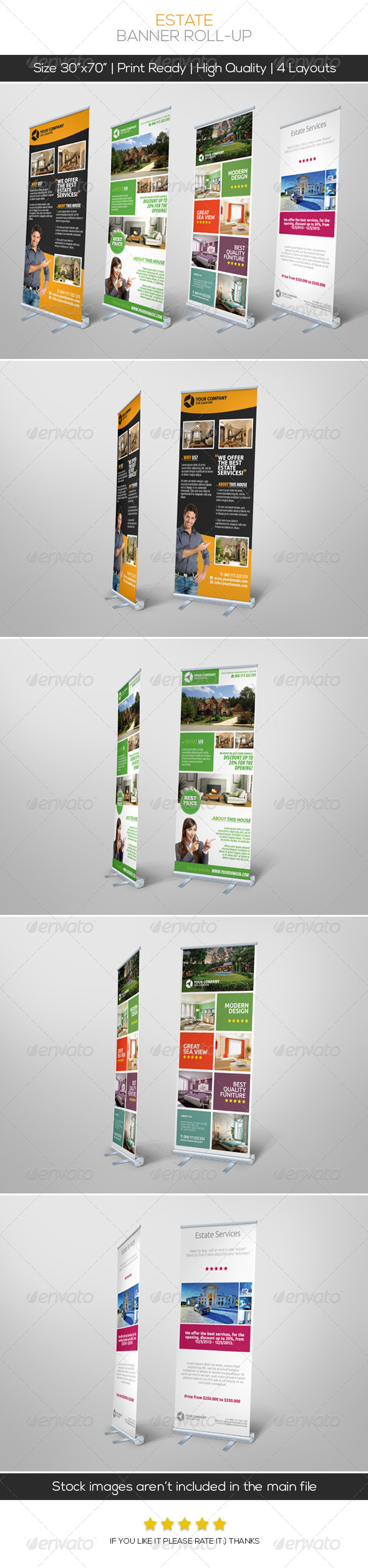Premium Estate Banner Roll-up - Signage Print Templates