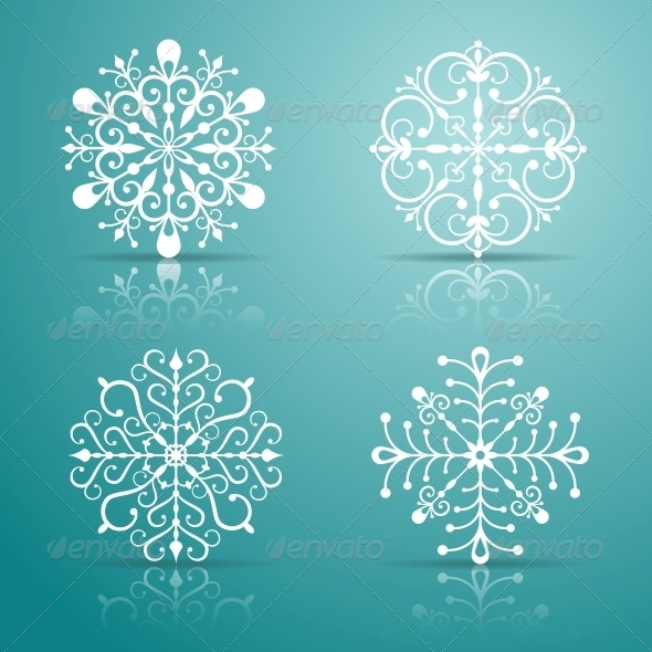 GraphicRiver Decorative Vector Snowflakes Set 4944350