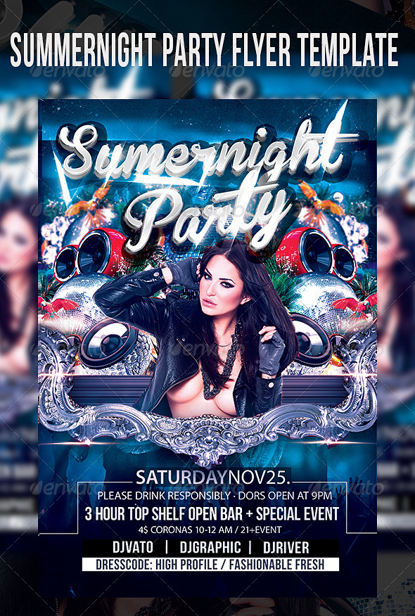 GraphicRiver Summernight Party Flyer Template 4945373