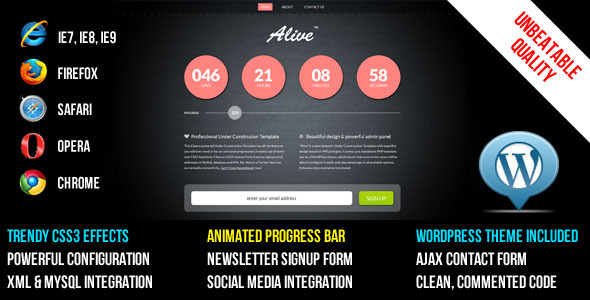 ALIVE Under Construction Template and WP Theme