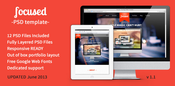 focused - OnePage MultiPurpose PSD Template