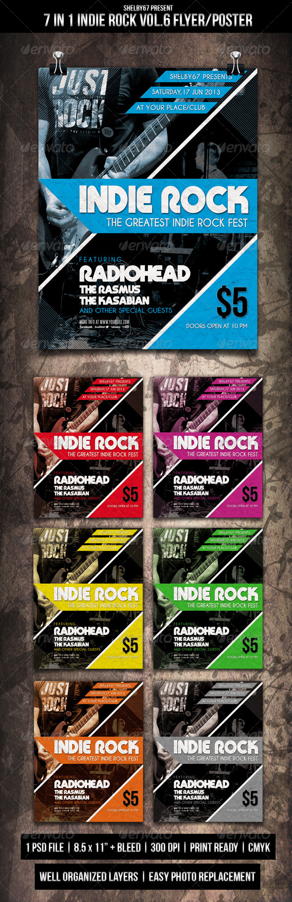 Indie Rock Flyer Poster Vol.6