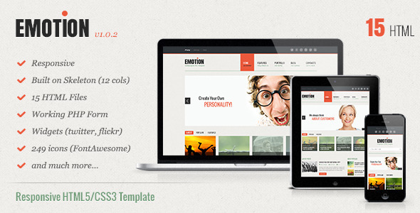 Emotion Responsive HTML5 CSS3 Template
