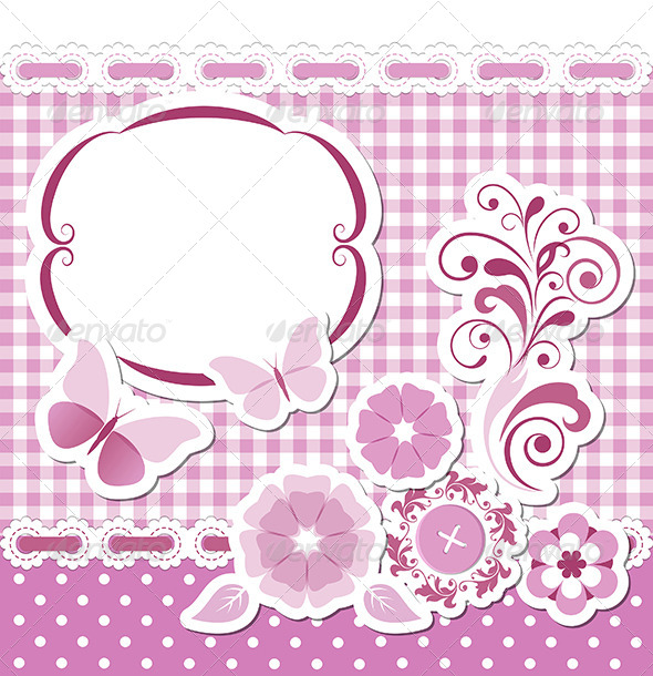 GraphicRiver Floral Scrapbook Pink Set 4947670