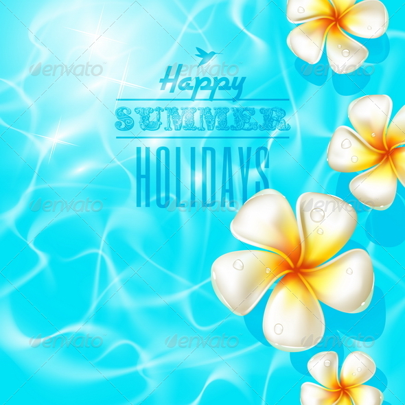 GraphicRiver Frangipani Flowers in Clear Blue Water 4947671
