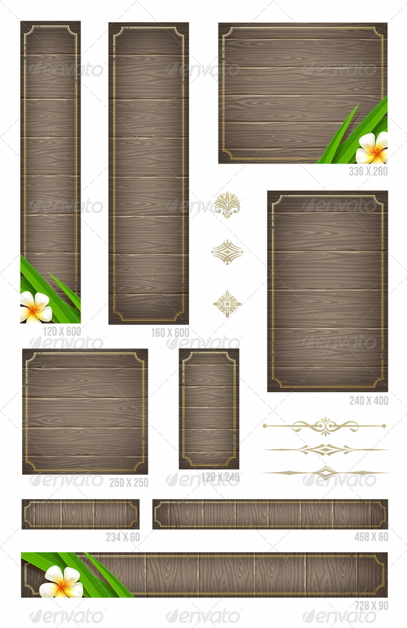 GraphicRiver Wooden Backgrounds Set of Standard Web Banners 4947708