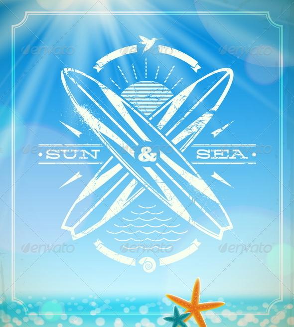 GraphicRiver Vector Surfing Grunge Vintage Emblem 4947740
