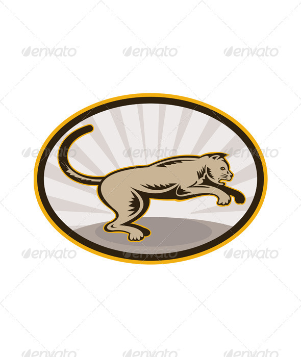 GraphicRiver Lioness Big Cat Pouncing Retro 4947763