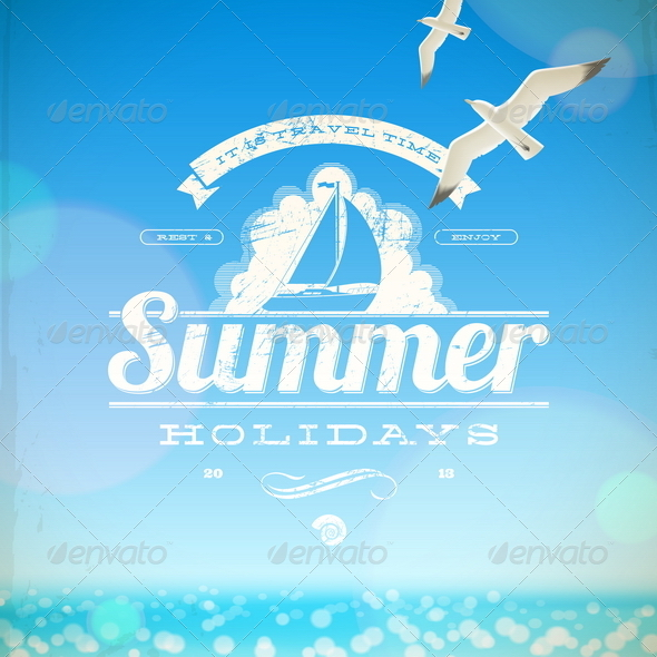 GraphicRiver Summer Holidays Vector Emblem and Seagulls 4947796