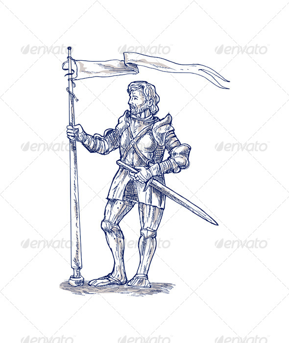 GraphicRiver Knight Lance Flag Sword Sketch 4947828