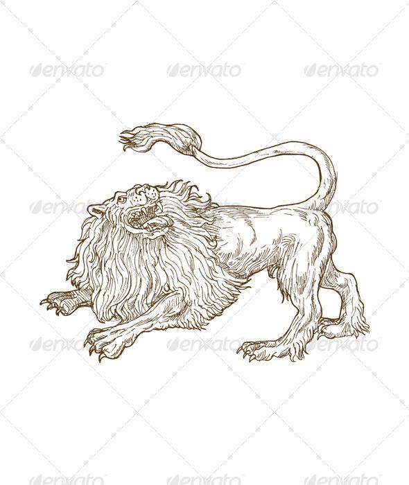 GraphicRiver Lion Big Cat Sketch 4947838