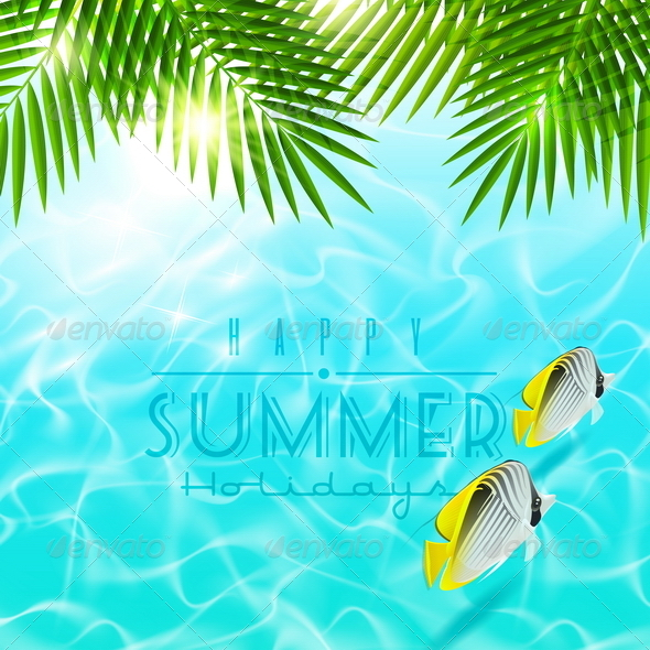GraphicRiver Summer Holiday Design With Tropical Fishes 4947852