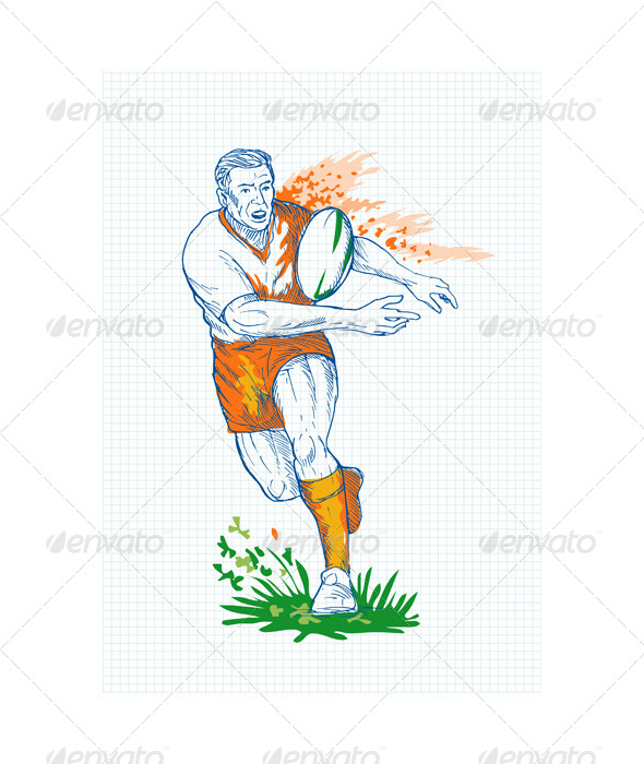 GraphicRiver Rugby Player Running Passing Ball Sketch 4947866