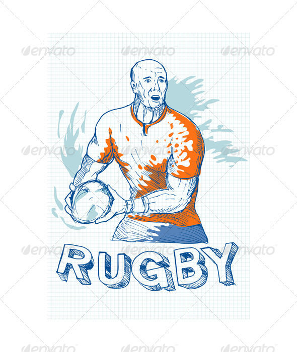 GraphicRiver Rugby Player Running Passing Ball Sketch 4947876