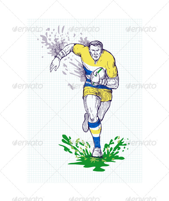GraphicRiver Rugby Player Running Passing Ball Sketch 4947878
