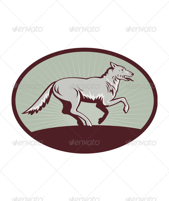 GraphicRiver Wild Dog Wolf Retro 4947920