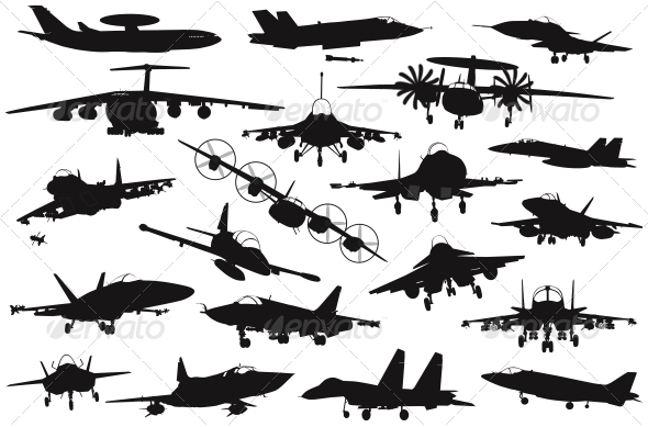 GraphicRiver Military Aircrafts Set 4947938