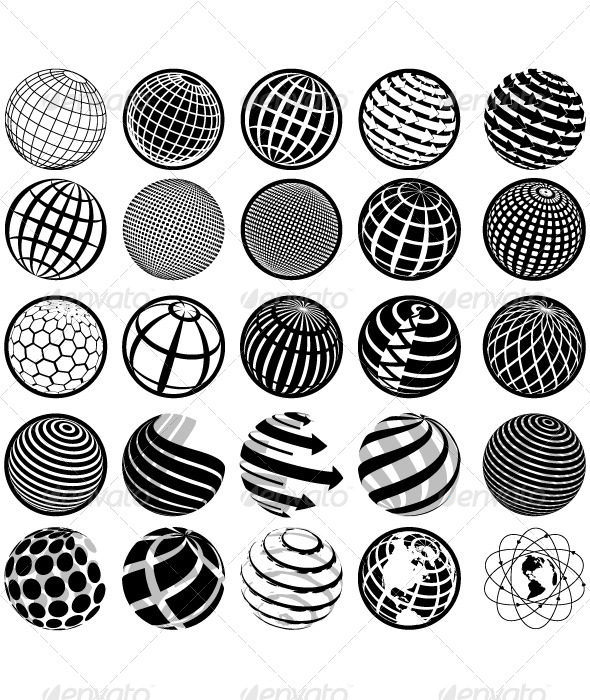 GraphicRiver Black and White Icons Globe 4938929