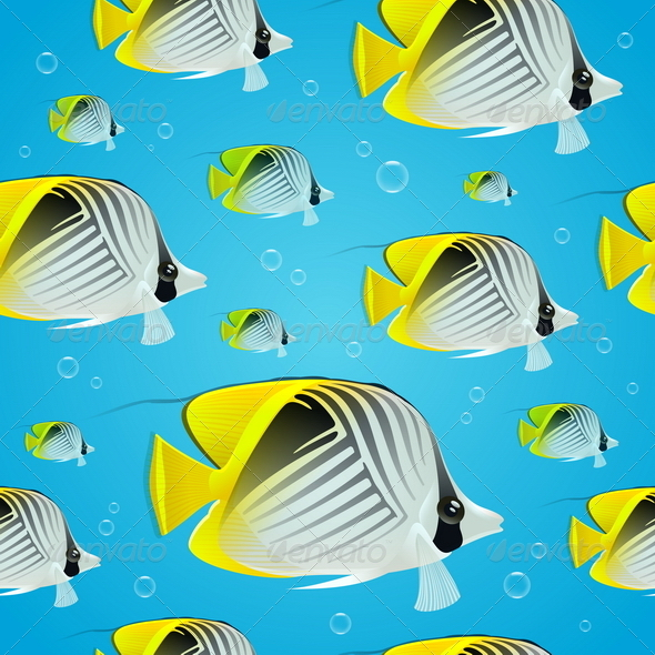 GraphicRiver Seamless Background Tropical Butterflyfish 4948033
